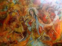 Iranian Painting-The Warmth Of Love - Oil Colour Paintings - By Sonia P, Miniature Painting Artist
