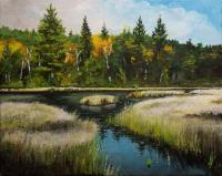 Northern Bog - Acrylics Paintings - By Christian Leclair, Landscape Painting Artist