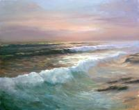 Sea Sunset - 40X50 Paintings - By Luchezar Radov, Realism Painting Artist