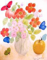 Watercolors Past Years - Bouquet Of Flowers With Apple - Watercolor