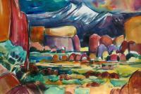 Manzenar - Mt Whitney Sun Set - Water Color