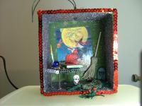 Spooky Shadow Boxes - Witch Shadow Box - Mixed Mediums