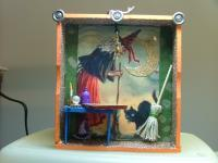 Spooky Shadow Boxes - A Witches Best Friends - Mixed Mediums