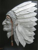 The Headdress - Cement Copper Aluminum Mixed Media - By William Ross, Realistic Mixed Media Artist