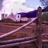 Taos Pueblo Twilight - Photography Mixed Media - By Dean Uhlinger, Photorealism Mixed Media Artist