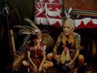 Dayak - Grandpa With His Grand Child - Oil On Canvas