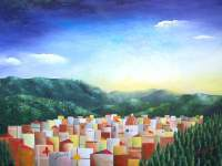 Firenze Da Fiesole - Oil On Canvas Paintings - By Massimiliano Stanco, Cubism Painting Artist