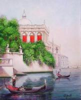 On The Grand Canal - Watercolor Paintings - By I Joseph, Realism Painting Artist