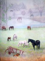 Equine - Grazing In My Domaine - Oil On Canvas