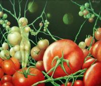 Delicious Tomato - Oil On Canvas Paintings - By Henk Bloemhof, Surrealism Painting Artist