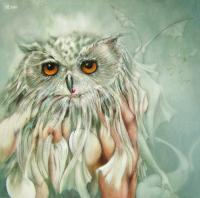 Sensual Little Owl - Oil On Canvas Paintings - By Henk Bloemhof, Surrealism Painting Artist
