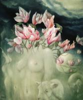 Flora Magnolia - Oil On Canvas Paintings - By Henk Bloemhof, Surrealism Painting Artist