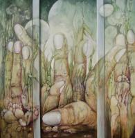 Phantasms - Triptich Vegetation - Oil On Panel