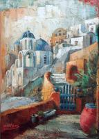 Santorini - Oil On Canvas Paintings - By Archil Bluashvili, Modern Painting Artist