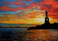 Red White  Blue Original - Oil On Masonite Board Paintings - By James Loveless, Realism Painting Artist