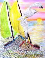 21St Century Art - A Lot Of Gull - Watercolors  Color Pens