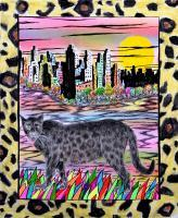 21St Century Art - Cougar In The City - Ab Watercolors Color Pens Penc