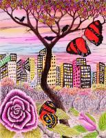21St Century Art - Butterflies In The City - Acry Color Pen Pencil Watercol