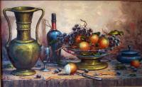 Dessert Table Still Life By Bpoloni 1900-1975 - Oil On Canvas Paintings - By Chau Tran, Pointillism Painting Artist