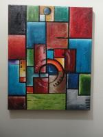 Abstract Oil Painting - The  Cirlce Of Light - 16X20 Inches Oil On Canvas