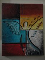 Abstract Oil Painting - The Wing Feather - 16X20 Inches Oil On Canvas