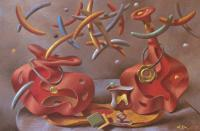 Still-Life - Conversation - Pastel On Paper