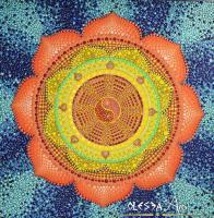 Lotus Mandala - Dharma Whell - Acrylic Paint Paintings - By Olesea Arts, Mandala Painting Artist
