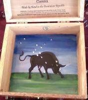 Painted Cigar Boxes - Taurus Zodiac Box - Gouache