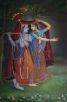 Radha Krishna Dancing Painting - Oil On Convas Paintings - By Vijender Jain, Free Hand Painting Painting Artist