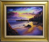 Seascape Sunset - Golden Sunset - Oil Paint