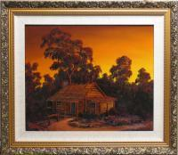Landscape Sunset - Pioneers Log Cabin - Oil Paint