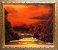 Seascape Sunset - Red Sky Sunset - Oil Paint