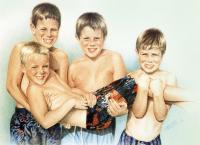 Watercolor Paintings Of Childr - Beach Boys - Watercolor