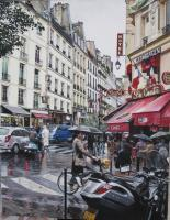 Carrefour Buci Paris - Acrylic Paintings - By Dmitry Korman, Classical Realism Painting Artist