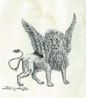 Pen And Ink - The Vision Of The Four Beast Lion - Pen And Ink