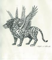 Pen And Ink - Vision Of The Four Beast   Leopard - Pen And Ink