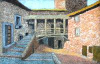 Medieval Houses -  Colored Pencils Version - Colored Pencils On Textil Paintings - By Vincent Consiglio, Cityscape Painting Artist