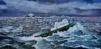 Mary Foss On A Stormy Sea - Oil On Canvas Paintings - By Doina Cociuba, Realism Painting Artist