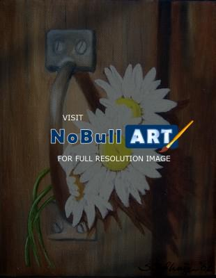 Still Life - Barn Door Daisies - Oils On Canvas