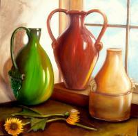 Still Life - Primarily Jugs - Oils On Canvas