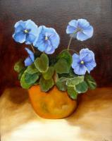 Still Life - Pansies In Terracotta - Oils On Canvas