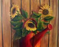 Still Life - Sunflowers In Red Watering Can - Oils On Canvas