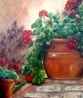 Geraniums On The Stone Wall - Oils On Canvas Paintings - By Susan Dehlinger, Traditional Painting Artist