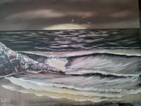 Evening Sea - Oil Paintings - By Stig Wall, Wet On Wet Painting Artist