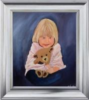 Portraits - Girl With Teddybear - Acrylic