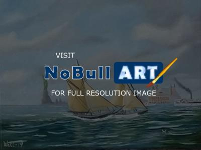 Tall Ships - New York Harbour 1910 - Water Mixable Oils