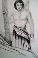 Drawing - David Prepares To Fight The Giant - Pencil