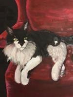Oil Painting - Fluffy The Cat - Oil