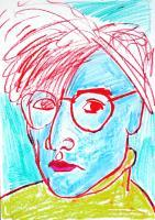 Portraits - Andy Warhol - Pencil Pastel  Paper