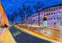 Landscapes - Paris Night - Pastel  Paper